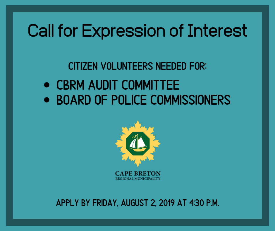 Call for Citizens on Committees CBRM Audit Committee and Board of Police Commissioners