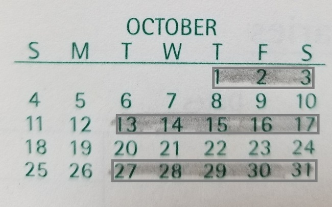Month of October curbside collection schedule 2020